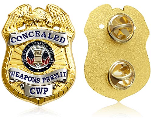 Concealed Weapons Permit Lapel Pin - Metal Double Clutch Pin