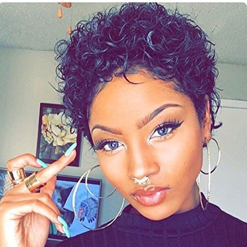 HOTKIS Short Curly Wigs Black Curly Hair Wigs 100% Human Hair Afro Kinky Curly Short Bob Wigs for Women(Short Afro - Short Human Hair Bob