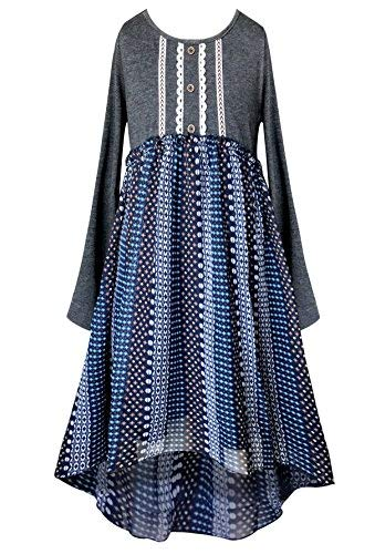 Smukke Big Girls Tween Soft Knit and Chiffon Long Sleeves HI Low Dresses (Knee Length), 7-16 (Grey Multi, 16)