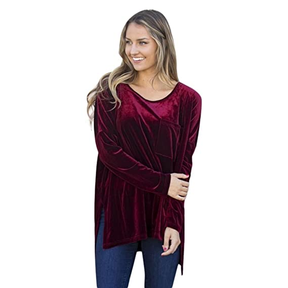 Camisetas y Tops,Koly Mujer Invierno Casual Blusa Cuello O Camiseta Verano Terciopelo Oficina tee