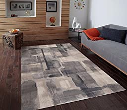 Persian-Rugs 2428 Gray 5-Feet-by-7-Feet Modern Area Rug, Large