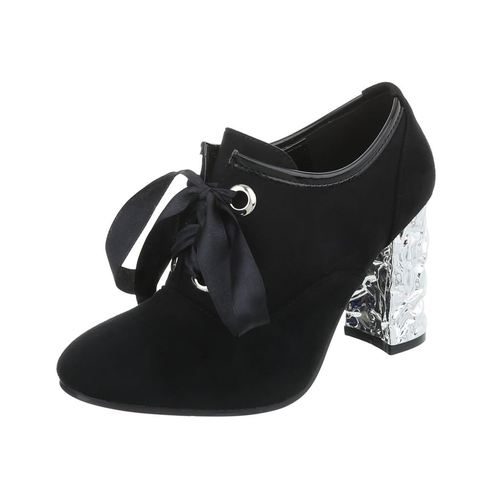 Ital-Design Ankle Boots Damenschuhe Ankle Boots Pump High Heels Schnürsenkel Stiefeletten  38 EU Schwarz
