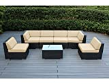 Ohana 14-Piece Outdoor Patio Furniture Sofa and Dining Set, Black Wicker with Sunbrella Antique Beige Cushions - Free Patio Cover