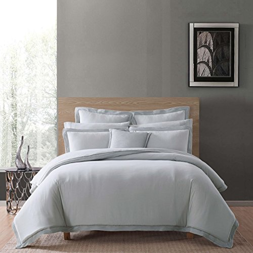 Charisma Luxe Cotton Linen Comforter Set, Full/Queen, Grey ()