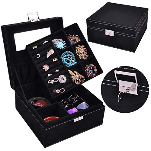 LIAOYLY Practical Flannel Jewelry Box Jewelry Display Earrings Necklace Pendant Storage Container case Gift,New Black