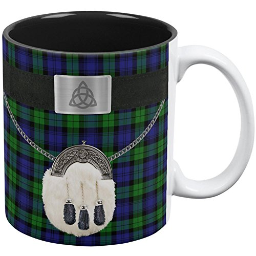 Old Glory St. Patricks Day Kilt Black Watch Scottish Costume All Over Coffee Mug White-Black Standard One Size