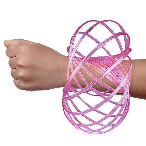 Digital Energy DE Kinetic Arm Toy - Magic 3D Shaped Flow Ring for Kids & Adults, Pink (Glow in The Dark)