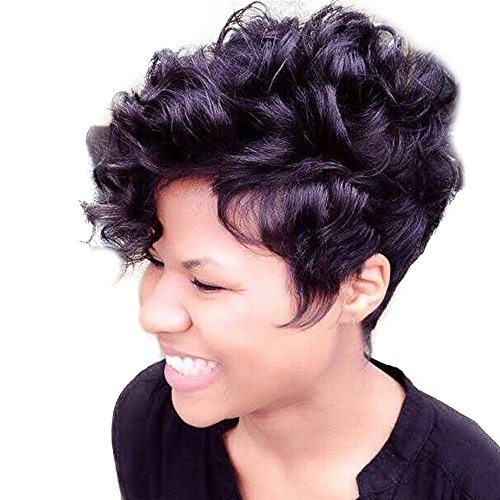 Human Hair Short Curly Wigs For Black Women Pixie Wig Big Curls Short Wig Synthetic (a) -