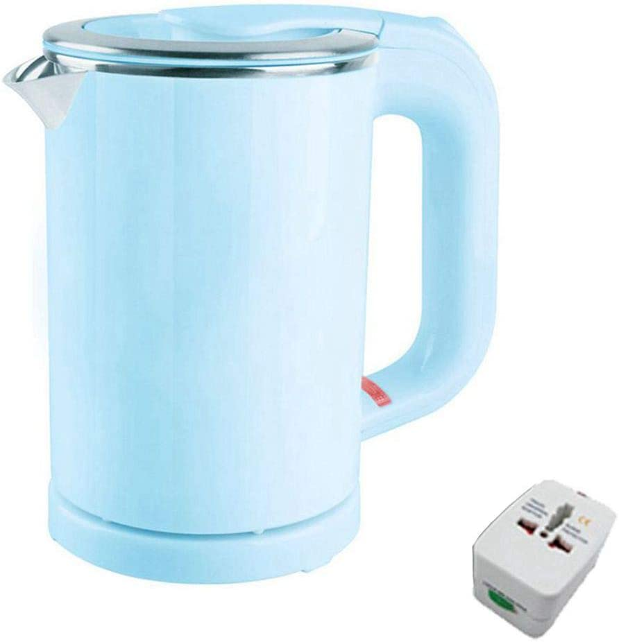 Dual Voltage Electric Kettle 0.5-Liter Travel MINI Electric Kettle Cup Heater Portable Stainless Steel Tea Pot Boiler (Blue)