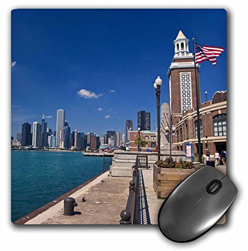 3dRose LLC 8 x 8 x 0.25 Inches Mouse Pad, Chicago Skyline from Navy Pier Illinois Joe Restuccia Iii (mp_90201_1)