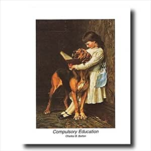 Victorian Little Girl Reading Her Book To Her Dog Kids Room Wall Picture 16x20 Art Print