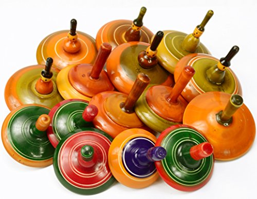 Lot of 6 pcs Handmade Painted Wood Spinning Tops Wooden Toys Vintage India Craft by AzKrafts by AzKrafts (Image #6)