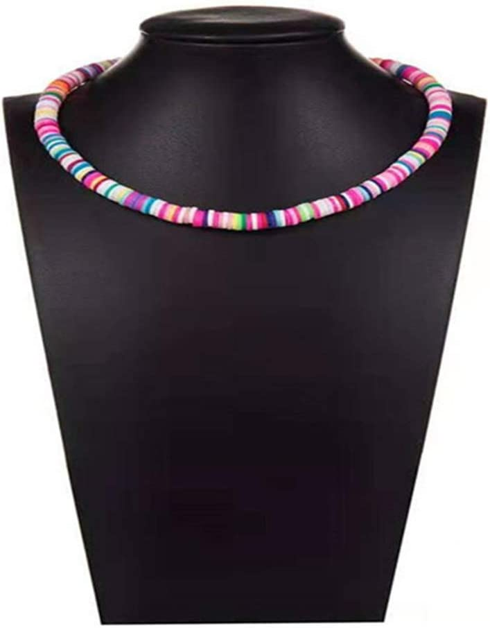 Pinhan - Gargantilla de arcilla polimérica colorida con cuentas coloridas y pequeñas piedras sintéticas, caucho, colourful, As Desciption