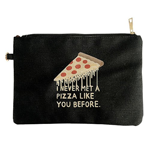 I NEVER MET A PIZZA LIKE YOU BEFORE Canvas Zipper Pouch Pencil Bag Cosmetic Bag Travel Organization - Sunglasses Coupon I