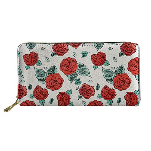 (Coloranimal Zipper Closure Leather Long Wallet Vintage Run for the Roses Pattern Coins Cash Credit Cards Holder Teenager Girls Slim Clutch Bag Organizer)
