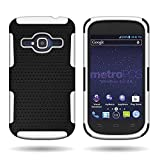 zte concord ii phone cases - CoverON for ZTE Concord II 2 Hybrid Case - Slim Protective Hard Mesh Armor Phone Cover - White & Black