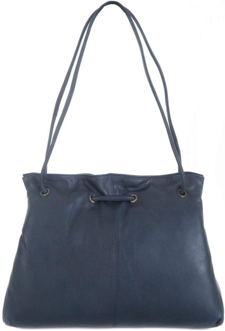 Gigi Othello Leather 3 Section Shoulder Handbag 4323 (Honey) Navy Blue