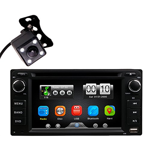 Kit Unit Gps (2Din in Dash Car DVD MP3 MP4 Video Player Radio Bluetooth Kit Universal Head Unit Stereos with Reverse Camera for Toyota Corolla EX Rav4 Prado Camry VIOS Echo Land Cruiser by HitCar (Without GPS))