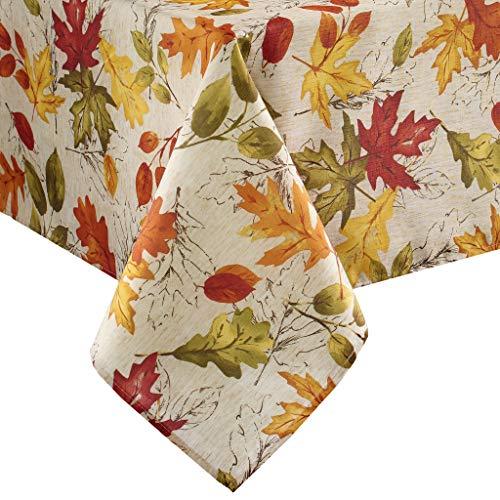 "Elrene Home Fashions Autumn Leaves Fall Printed Tablecloth, 52"" x 52"", Multi"