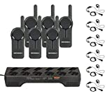 6 Pack of Motorola DLR1020 Radios with 6 Push To Talk (PTT) earpieces and a 12 Pocket Radio Charger