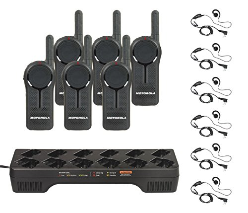6 Pack of Motorola DLR1060 Radios with 6 Push to Talk (PTT) earpieces and a 12 Pocket Radio Charger