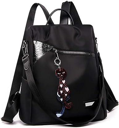 black Backpack for Women tartan Casual work School Waterproof Rucksack