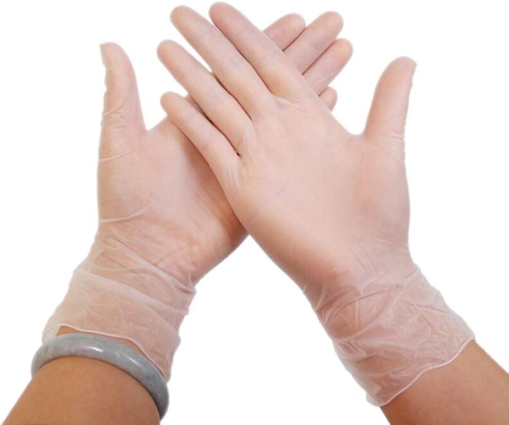 使い捨て透明手袋、医療用ゴム手袋、パウダーフリー、ダストフリー安全な家庭用クリーニング製品、快適に着用 (Color : Transparent, Size : S)