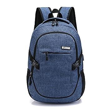 SODIAL Mochila de ordenador portatil con puerto de carga USB Bolsa de ordenador portatil y de poliester resistente al agua de negocios (Azul): Amazon.es: ...