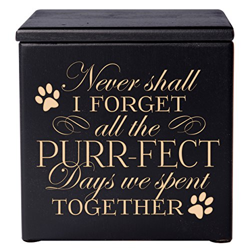 Cremation Urns for Pets SMALL Memorial Keepsake box for Dogs and Cats, Urn for pet ashes Never Shall I forget all of the Purr-fect Days we spent Together Holds SMALL portion of ashes (Black)
