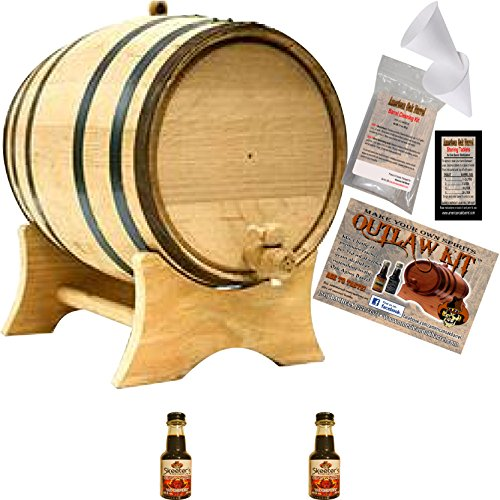 Outlaw Kit From American Oak Barrel - Make Your Own Cinnamon Whiskey (Natural Oak With Black Hoops, 2 Liter)