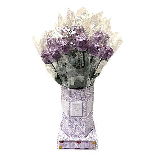 Valentine Gift Lavender Foiled Belgian Milk Chocolate Color Splash Long Stem Rose Bouquet - Pack of 20