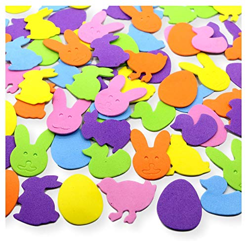 Assorted Easter Holiday Colorful Self Adhesive Foam Craft Sticker Kit - Ducks Bunnies Eggs and More - 200 Piece Set ()