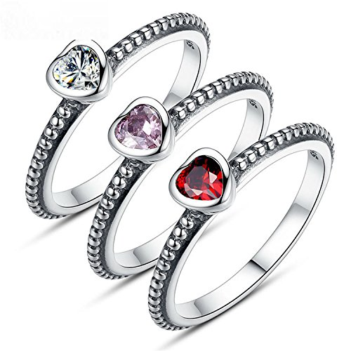 Baqijian Silver Color Love Heart Ring Stackable Ring Purple Zircon Women Wedding Jewelry Pa7210 White 8