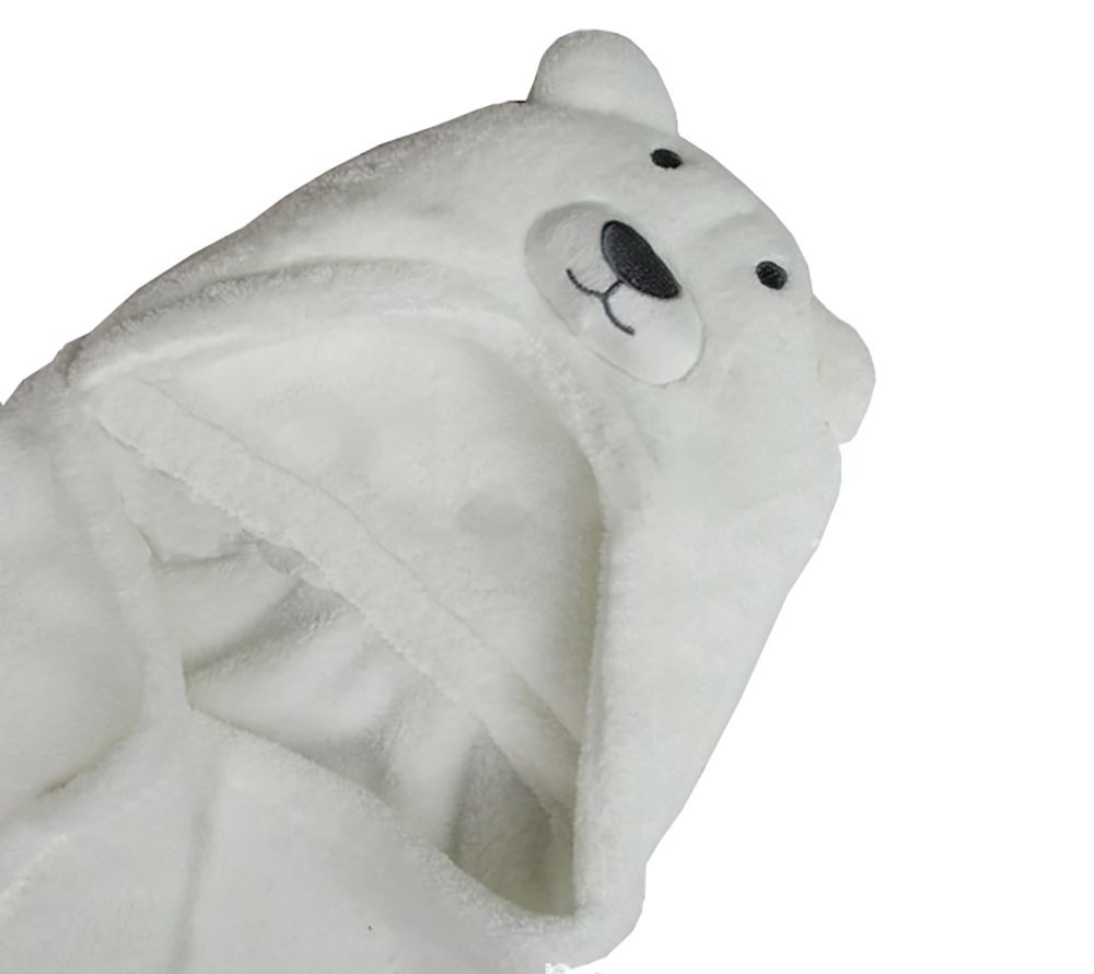 TOKYO-T Kids Beach Bath Towel Blanket Hooded Robe Poncho (Polar bear)