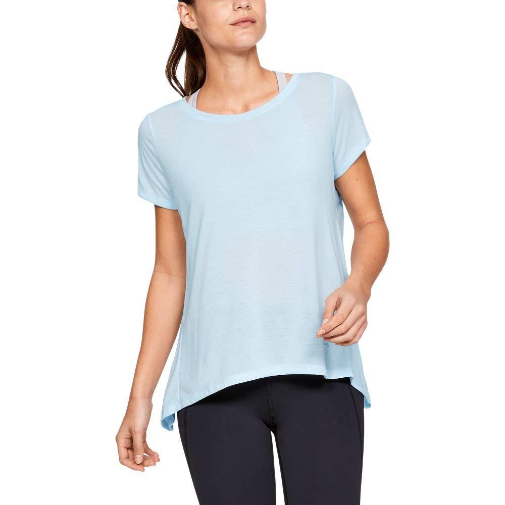 Under Armour Women's Whisperlight Short Sleeve Foldover Shirt, Code Blue//Tonal, X-Small