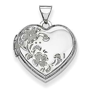 PriceRock 14K oro blanco pulido en forma de corazón floral Locket