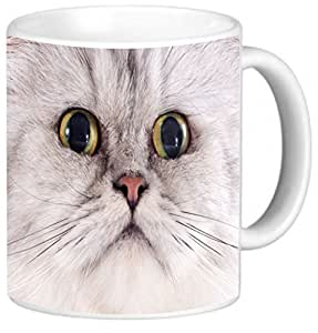 Rikki KnightTM Head Of Persian Cat With Huge Yellow Eyes Design 11 oz Photo Quality Ceramic Coffee Mug Cup - FDA Approved - Dishwasher and Microwave Safe