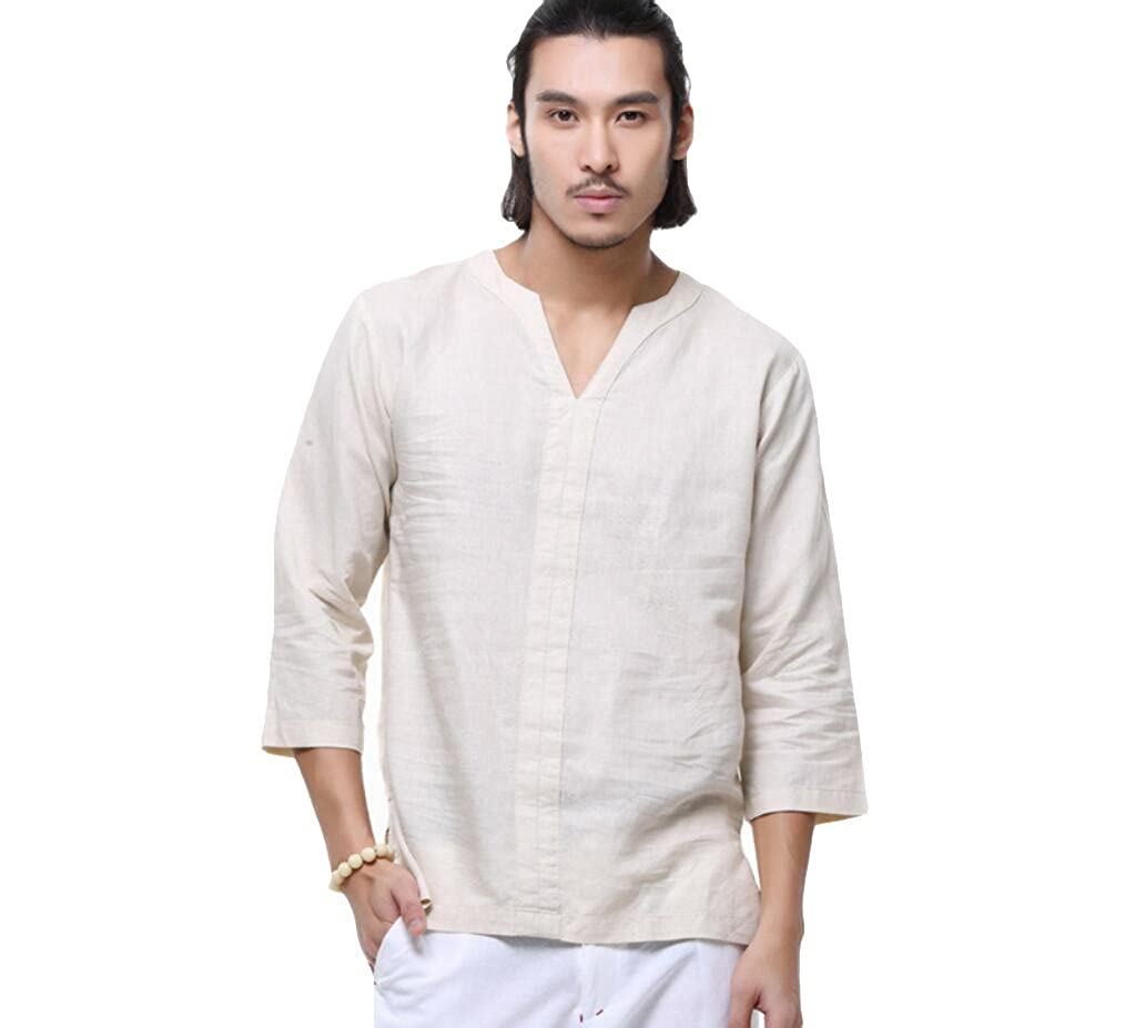 Helisopus Mens Casual Loose Linen Cotton Shirt V Neck 34 Sleeve