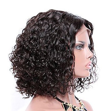 Amazon.com: Wigs Human Hair Brazilian Hair Curly Short Bob/Bob Haircut 130% Density With Baby Hair/With Bleached Knots/Natural Hairline Black,10Inch: Sports ...