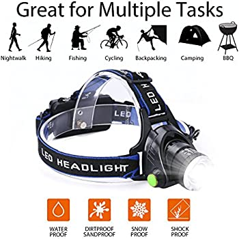 LED Waterproof Headlamp Flashlight, Rechargeable Zoomable Headlamps Adjustable Cree T6 Headlight for Camping Hiking Hunting Running Working Outdoor Sports with 18650 Batteries,Charger and USB Cable