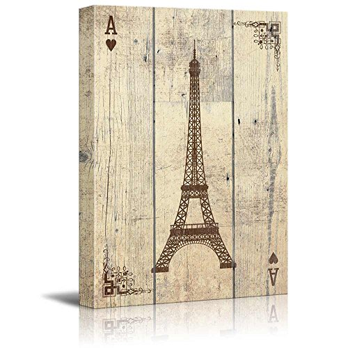 Poker Cards Hearts Ace Vintage Eiffel Tower in Paris Standing Like The Letter A