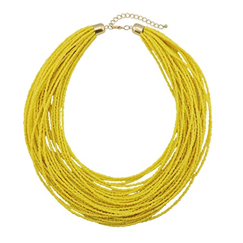 Bocar Multi Layer Chunky Bib Statement Seed Beads Cluster Collar Necklace for Women Gift (NK-10351-yellow) ()