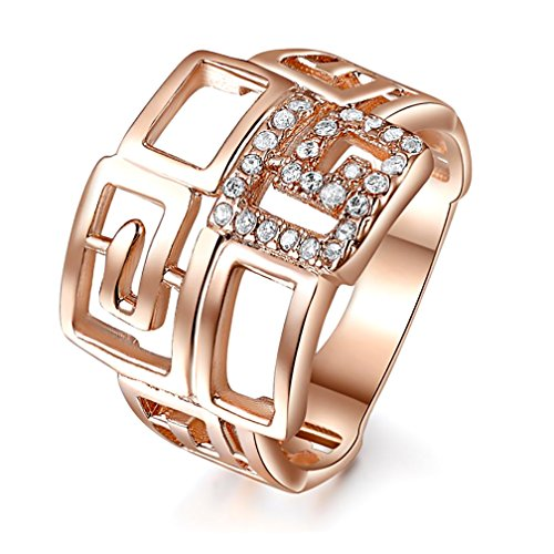 Katie's Style Rose Goldtone Cubic Zirconia CZ Art Deco Geometric Women Fashion Cocktail Ring Size 8