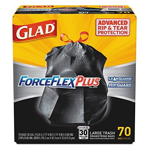 Glad 70358 ForceFlexPlus Drawstring Large Trash Bags, 30 gal, Black (Box of 70)
