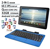 RCA Viking Pro Blue Edition 10 Inch Touchscreen 2 In 1 Tablet Laptop (Quad-Core Processor, 32G storage, Detachable Keyboard, Free Office Moblie APP, IPS Display, Android 5.0)