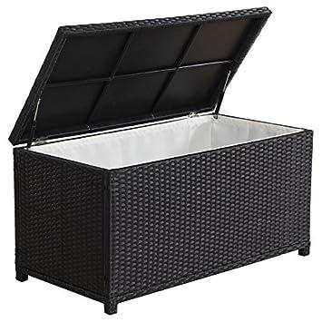 Patio Storage,Outdoor Storage Box,Outdoor Black Wicker Cushion Storage,Made  Of Aluminum
