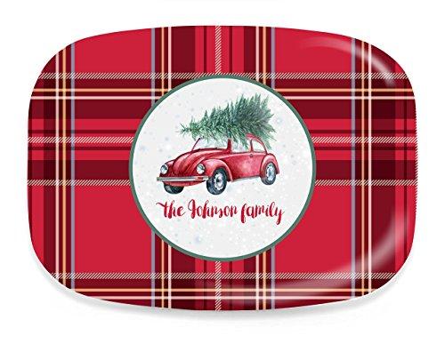 Personalized Melamine Christmas Platter, Tartan VW