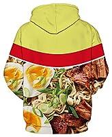 GLUDEAR Unisex Realistic 3D Digital Print Pullover Hoodie Hooded Sweatshirt,Beef Noodles,L/XL