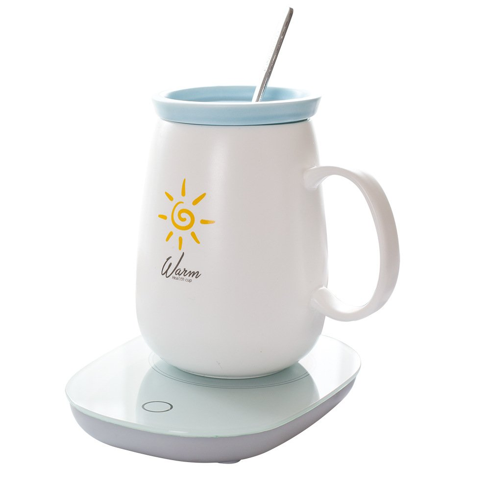 Mug Warmer, Coffee Warmer with Automatic Shut Off to Electric Constant Keep Temperature 55℃/131℉, Safely Use for Office/Home to Warm Coffee Tea Milk Candle(Include 550Ml Coffee Mug & Spoon)
