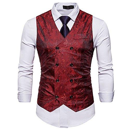 NiuZi Men's Vintage Slim Fit Floral Jacquard Double-Breasted Suit Vest V-Neck Dress Waistcoat (Red, (Vintage Vest)